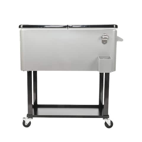 Outdoor Equipments Rolling Ice Chest Iron Spray Cooler with Shelf