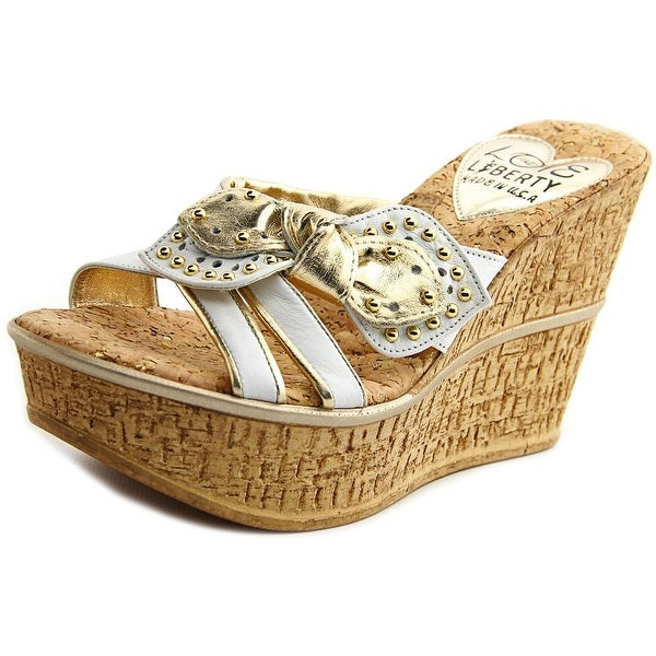 Love and Liberty Claudia 2 Women Open Toe Leather White Wedge Sandal