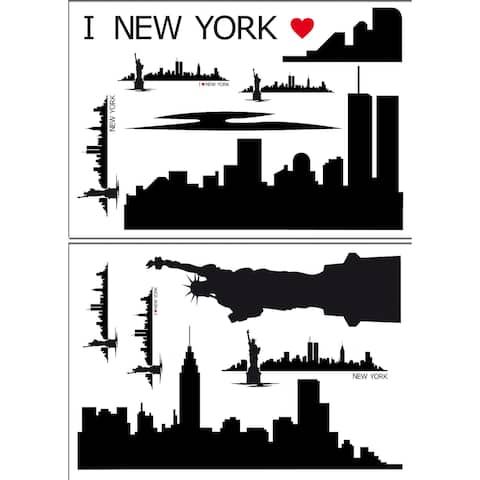 Brewster DM74102 Variable Sized - New York Skyline - Self-Adhesive Repositionable Vinyl Wall Decal - Set of 14 -