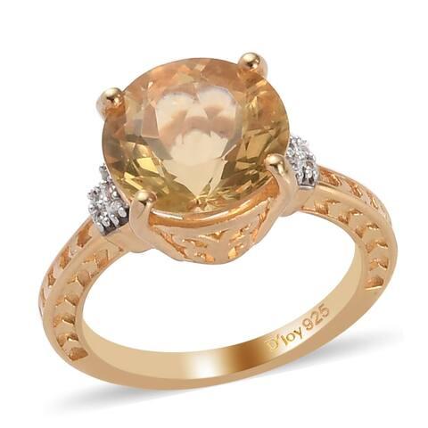 Shop LC 925 Silver Labradorite Zircon Solitaire Ring Ct 3.4