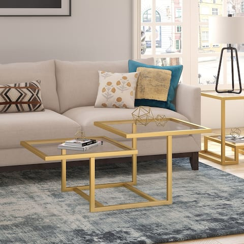 Silver Orchid Solm Two-Tier Gold Coffee Table