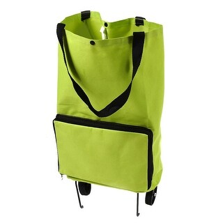 Polyester Portable Handy Foldable Bag Wheel Cart Shopping Trolley Green