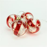 Battery Operated Red And Gold Swirl Glass Ball LED Lighted Christma