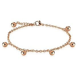 Multi Dangle Ball Beads Charm Rose Gold Stainless Steel Chain Anklet/Bracelet (13.5 mm) - 9.25 in