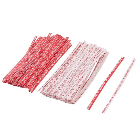 Gift English Letter Print DIY Candy Biscuit Bag Packing Twist Ties Red White 200pcs