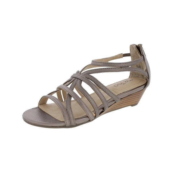 Me Too Womens Sofie5 Wedge Sandals Shimmer Open Toe