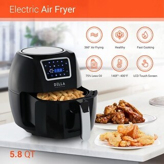 DELLA Air Fryer 5.8 Quart Rotisserie Griller Roaster Oil less Home Kitchen Convection Rapid Circulation Technology Black