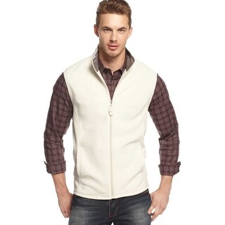 Club Room Full Zip Mock Neck Fleece Vest Silver Birch Beige Small S