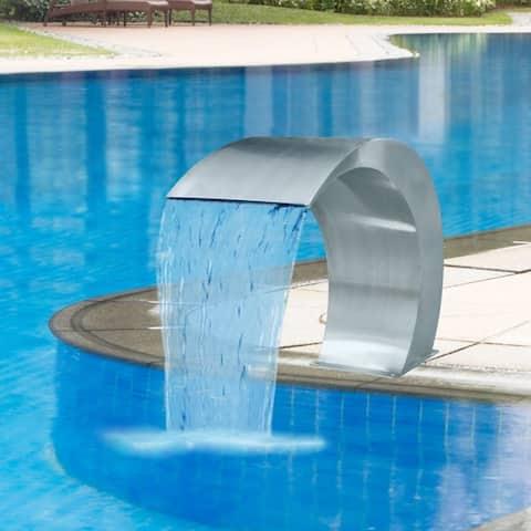 vidaXL Waterfall Pool Fountain Stainless Steel Descent Pond Garden Outdoor