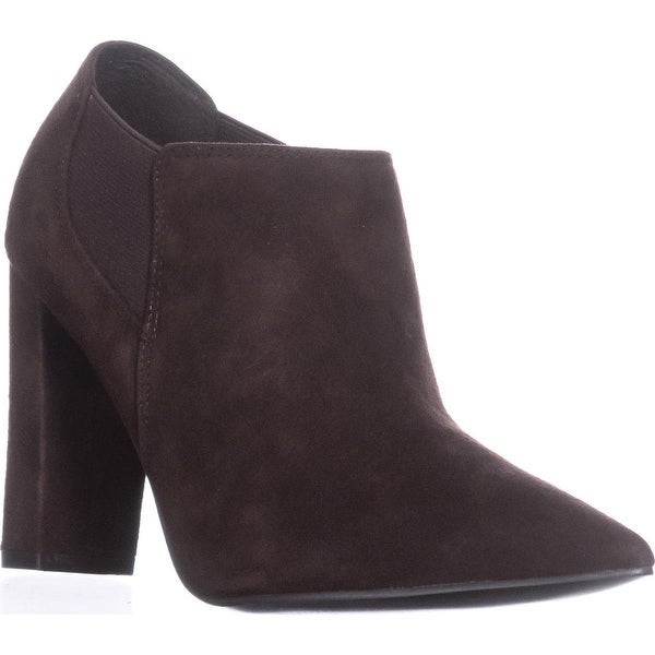 Marc Fisher Hydra Pointed Toe Block Heel Dress Ankle Boots, Brown Multi Suede