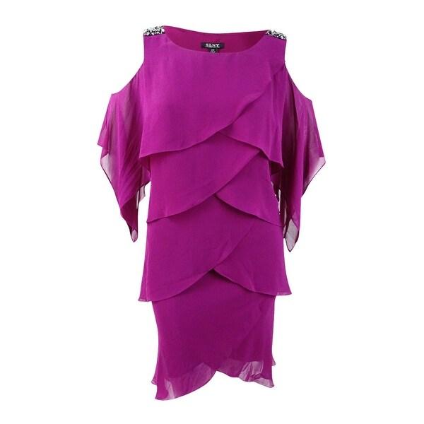 SL Fashions Women\'s Plus Size Embellished Tiered Dress - Boysenberry