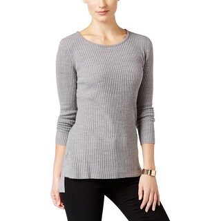 NY Collection Womens Petites Pullover Sweater Hi-Low Ribbed Knit
