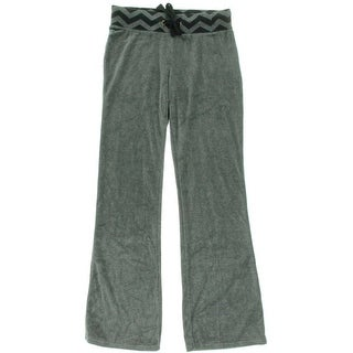 Jenni Womens Juniors Velour Printed Casual Pants