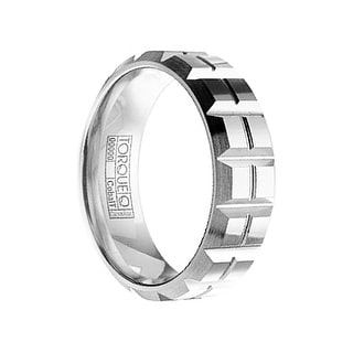 Men's Grooved Cobalt Wedding Ring with Matte Finish by Crown Ring - 7mm