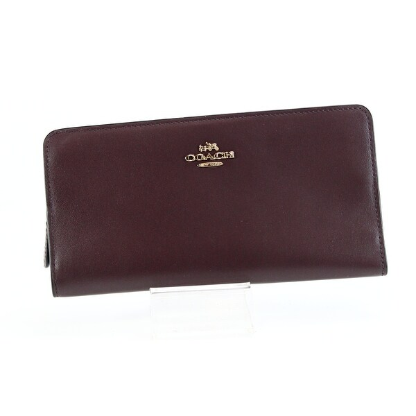 Coach NEW Blood Red Gold Skinny Wallet Bifold Refined Calf Leather
