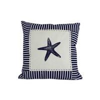 Blue Starfish Nautical Stripes Decorative Throw Pillow, 16 in.