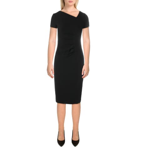 Donna Karan Womens Cocktail Dress Knit Pleated - Black