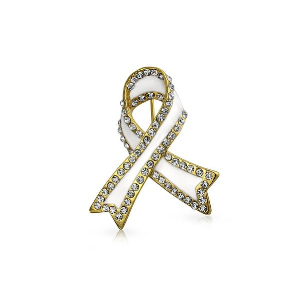 Bling Jewelry White Enamel Crystal Lung Cancer Awareness Pin Gold Plated