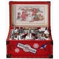 Amusements Retro Animated Vintage Red Trunk Christmas Music Box