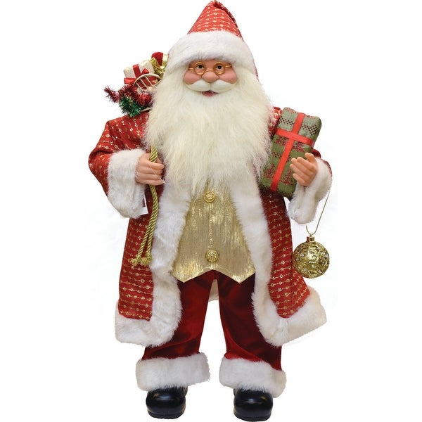 """24.5"""" Snazzy Standing Santa Claus Christmas Figure with Ornament and Gifts - RED"""