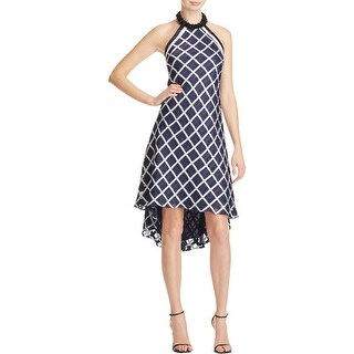 Carmen Marc Valvo Womens Casual Dress Plaid Beaded