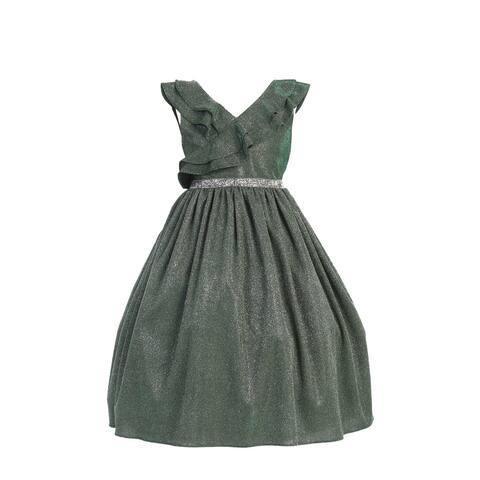 Kids Dream Big Girls Green Rhinestone Lurex Christmas Dress