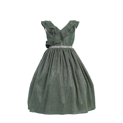 Kids Dream Little Girls Green Rhinestone Lurex Christmas Dress