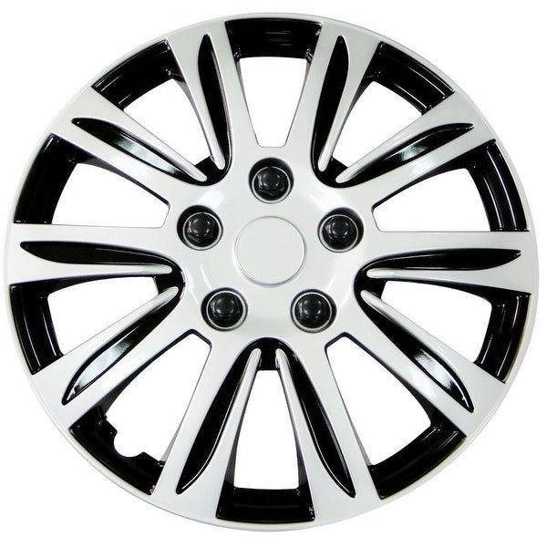 Pilot Automotive Silver 14/ 15/ 16-inch New Design Hubcaps Hub Cap Full Lug Skin with Black Accents Rim Wheel Covers (Pack of 4)