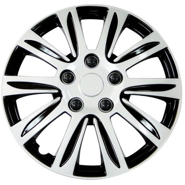 Pilot Automotive Silver 14 15 16 Inch New Design Hubcaps Hub Cap Full Lug Skin With Black Accents Rim Wheel Covers Pack Of 4 Free Shipping On