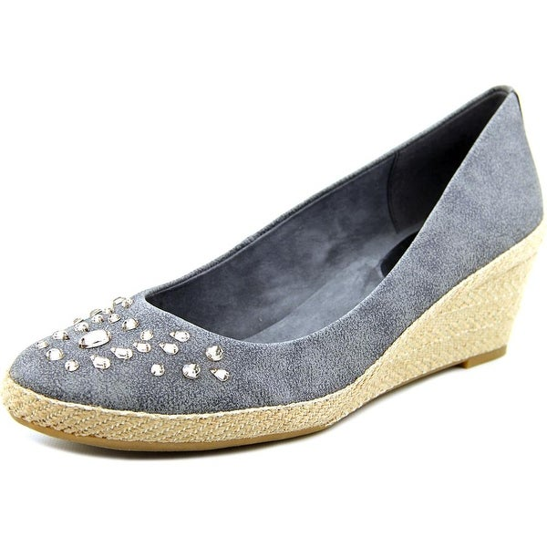 Easy Spirit Kalijo Women Open Toe Canvas Gray Wedge Heel
