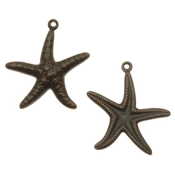 Vintaj Natural Brass Ocean Star Fish Double Sided Charms 23mm (2)