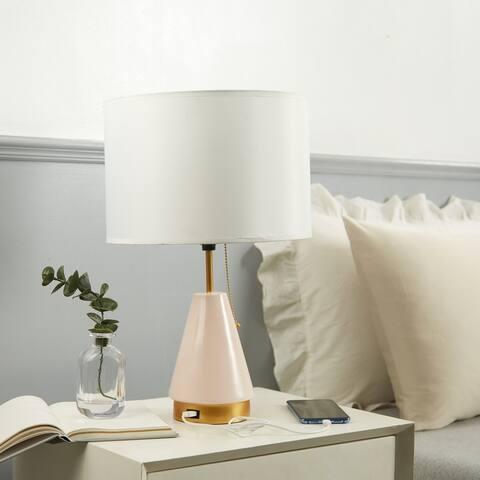 "Urban Shop Metal Glass Table Lamp, Pink - 12.9""W x 20.7""H"
