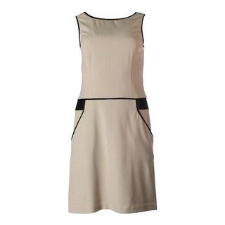 Lauren Ralph Lauren Womens Faux Trim Sleeveless Wear to Work Dress