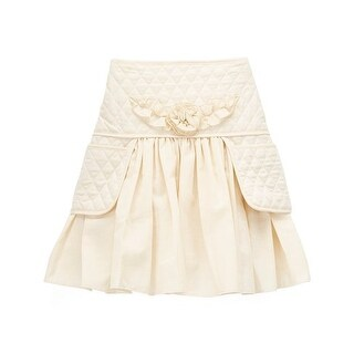 Girls Ivory Quilted Texture Flower Accent 2 Pockets Skirt