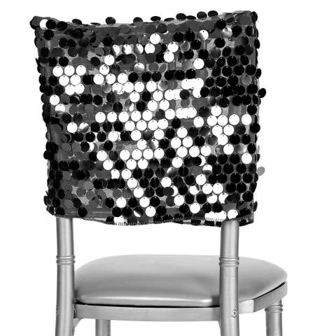"1 Pk, Payette Sequin Chiavari Chair Cap 16""W X 14""L - Black"