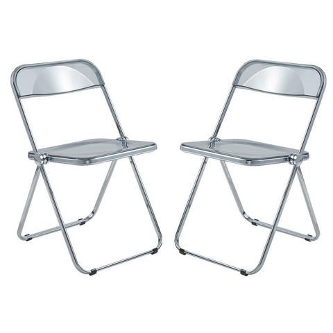 """LeisureMod Lawrence Acrylic Folding Chair With Metal Frame, Set of 2 - 30"""""""