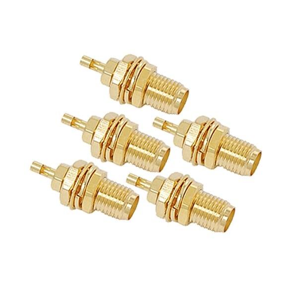 Gold Tone Plated SMA Female Bulkhead RF Coaxial Cable Connector 5Pcs