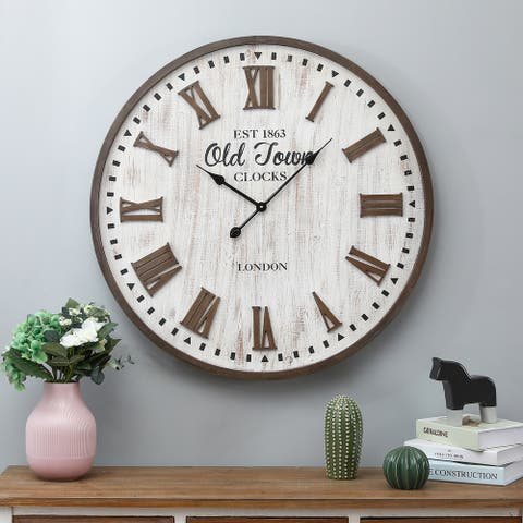 31.5in. Dia. MDF Old Town Wall Clock - 31.3in Dia.
