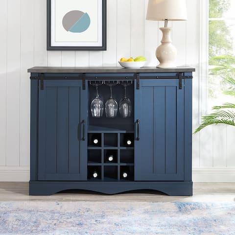 47 in. Navy Blue Wood Bar Cabinet with Barn Door, black marbling pattern print wood countertop