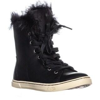 UGG Croft Sheepskin Lace Up Fashion Sneakers, Black