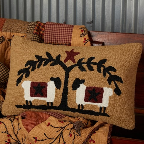 Heritage Farms Sheep and Star Hooked Pillow 14x22