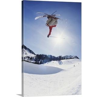 """Skier jumping mogul"" Canvas Wall Art"