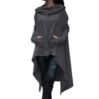 Link to Long Cloak Cape Coat Pockets Outerwear Pullovers Hooded Tops Female Irregular Similar Items in Women's Outerwear