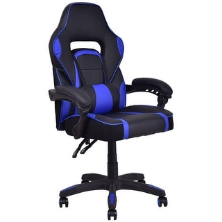 Costway Executive Racing Style PU Leather Gaming Chair High Back Recliner Office Blue