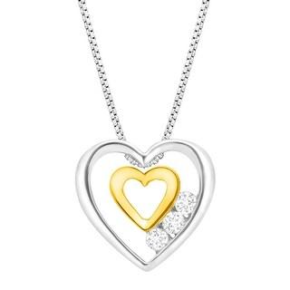 1/5 ct Diamond Trio Double Heart Pendant in Sterling Silver & 14K Gold