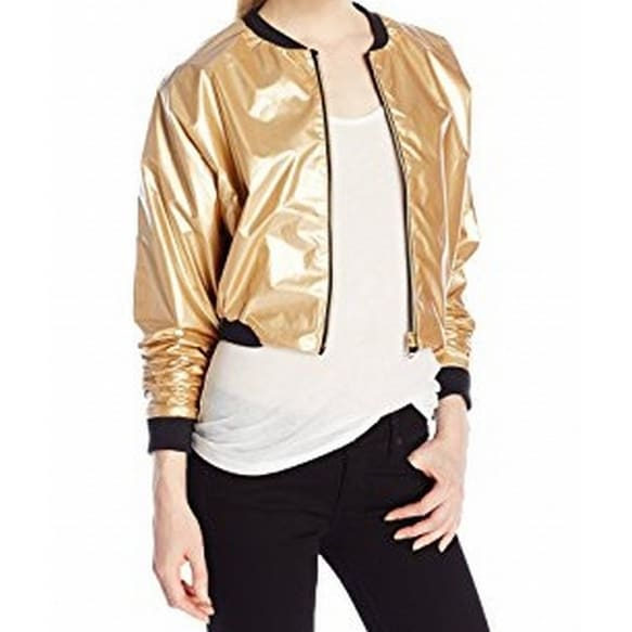 5ba5bf894 Jess Glynne X Bench NEW Gold Womens Size Large L Cropped Bomber Jacket