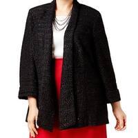Kasper Black Womens Size 14W Plus Shawl Collar Shimmer Jacket