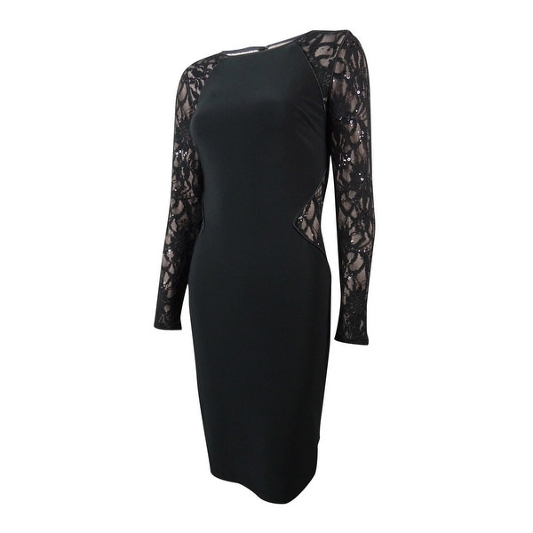 Lauren Ralph Lauren Women\u0026#x27;s Sequined Lace Inset Jersey Dress - Black  Multi