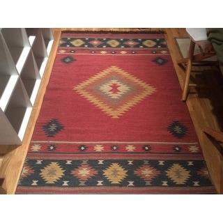 Hand Woven Burgundy Southwestern Aztec Acero Wool Rug 3 6