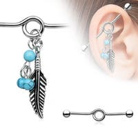 "Turquoise Beads and Feather Dangle Surgical Steel Industrial Barbell-14GA-1& 1/2"" Length(Sold Ind.)"